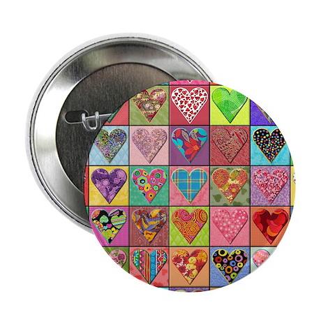 """Heart Quilt 2.25"""" Button (10 pack)"""