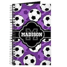 Monogram Purple Soccer Ball Pattern Journal
