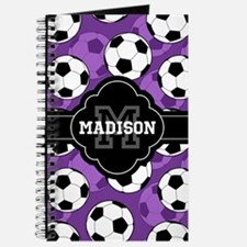 Monogram Purple Soccer Ball Pattern Journal