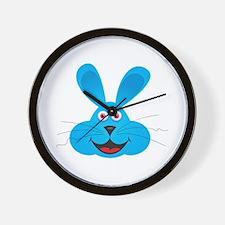 Cute Blue Bunny Face Wall Clock