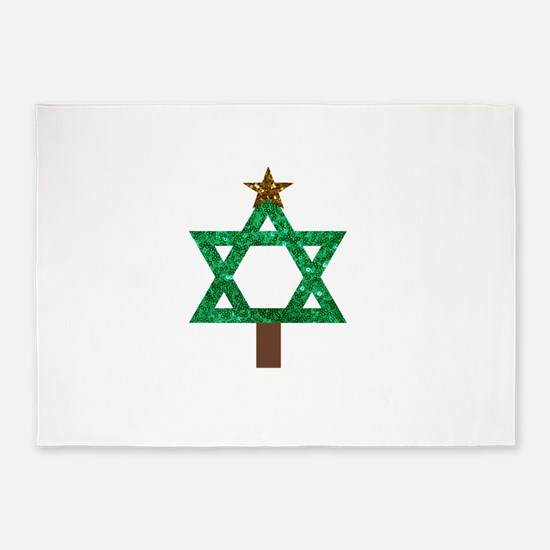 christmukkah christmas tree 5'x7'Area Rug