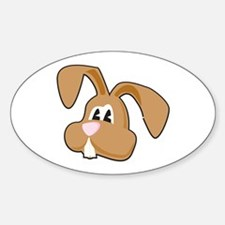 Silly Brown Bunny Face Oval Decal