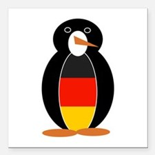 """Penguin of Germany Square Car Magnet 3"""" x 3"""""""