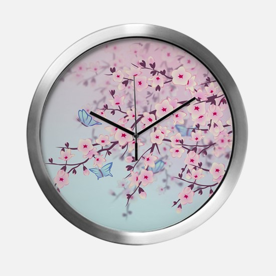 Cherry Blossom with Butterfly Modern Wall Clock