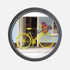 retro style Yellow Bicycle and flowers Wall Clock
