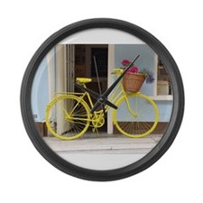 retro style Yellow Bicycle and fl Large Wall Clock