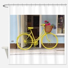 retro style Yellow Bicycle and flow Shower Curtain