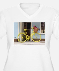 retro style Yellow Bicycle and f Plus Size T-Shirt