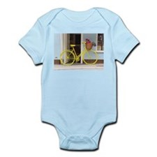 retro style Yellow Bicycle and flowers i Body Suit