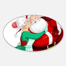Mrs Claus Kisses Santa On Cheek And Hugs Decal