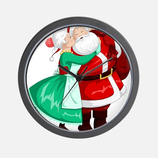 Mrs Claus Kisses Santa On Cheek And Hug Wall Clock
