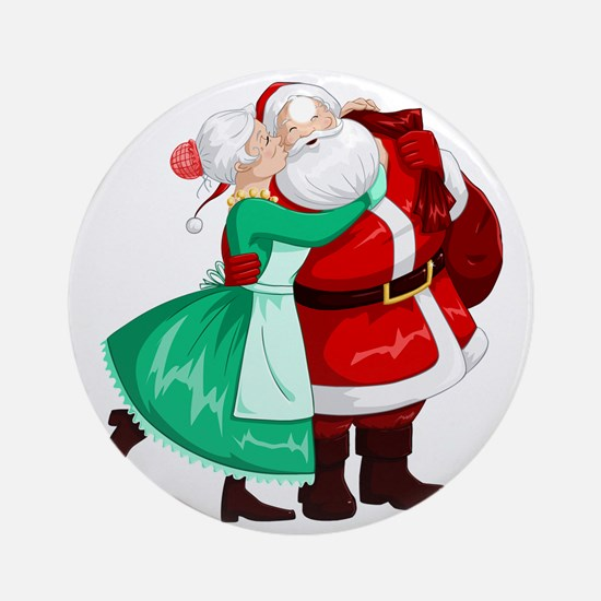 Mrs Claus Kisses Santa On Cheek And Round Ornament