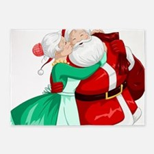 Mrs Claus Kisses Santa On Cheek And 5'x7'Area Rug