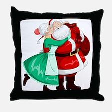 Mrs Claus Kisses Santa On Cheek And H Throw Pillow