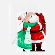Mrs Claus Kisses Santa On Cheek And Greeting Cards