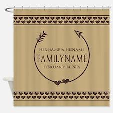 Custom Family Name Arrow Hearts Shower Curtain