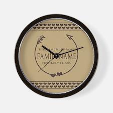 Custom Family Name Arrow Hearts Wall Clock
