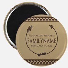 Custom Family Name Arrow Hearts Magnet