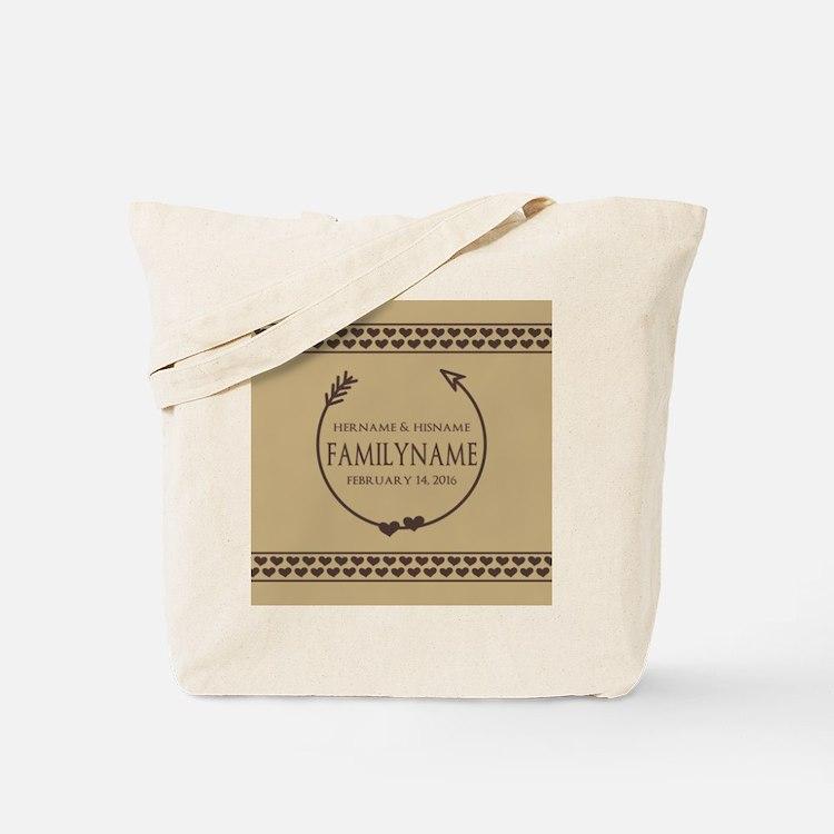 Custom Family Name Arrow Hearts Tote Bag