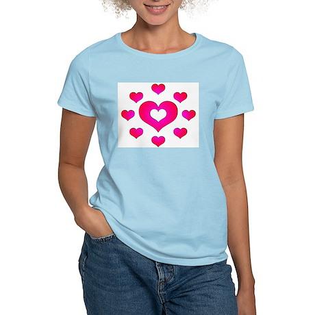 Pink Hearts Women's Pink T-Shirt