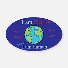 I Am Human Oval Car Magnet