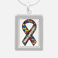 Autism Awareness Silver Portrait Necklaces