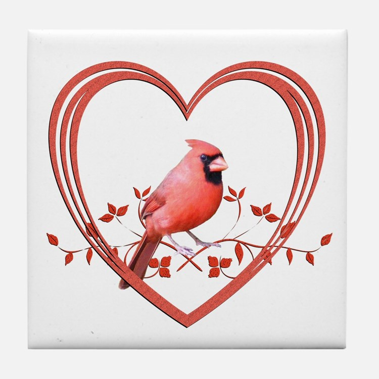 Cardinal in Heart Tile Coaster