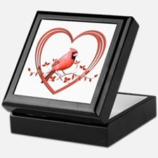 Cardinal in Heart Keepsake Box