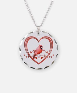 Cardinal in Heart Necklace