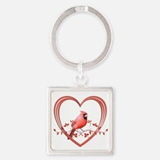 Cardinal in Heart Square Keychain