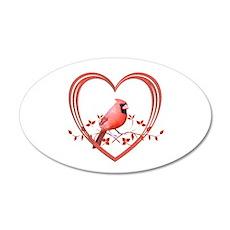 Cardinal in Heart Wall Decal