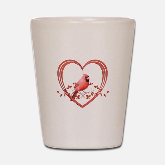 Cardinal in Heart Shot Glass