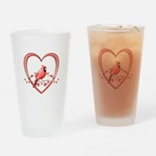 Cardinal in Heart Drinking Glass