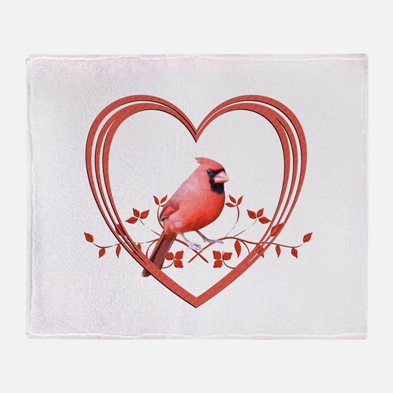 Cardinal in Heart Throw Blanket