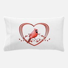 Cardinal in Heart Pillow Case