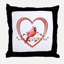 Cardinal in Heart Throw Pillow
