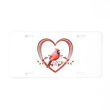 Cardinal in Heart Aluminum License Plate