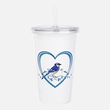 Blue Jay in Heart Acrylic Double-wall Tumbler