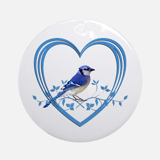Blue Jay in Heart Round Ornament