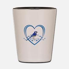 Blue Jay in Heart Shot Glass