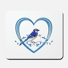 Blue Jay in Heart Mousepad