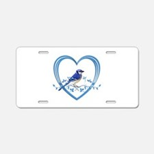 Blue Jay in Heart Aluminum License Plate