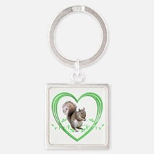 Squirrel in Heart Square Keychain