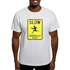 Slow! Noobs At Play! Ash Grey T-Shirt