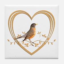 Robin in Heart Tile Coaster