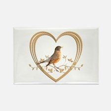 Robin in Heart Rectangle Magnet