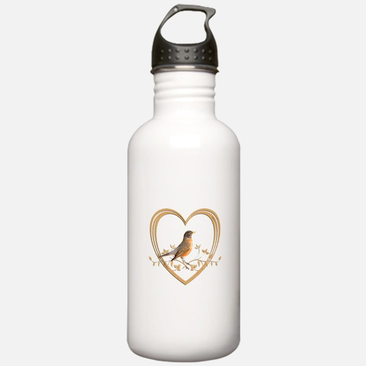 Robin in Heart Water Bottle