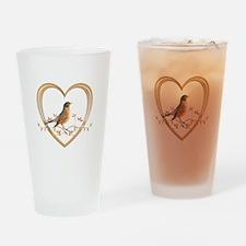 Robin in Heart Drinking Glass
