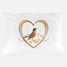 Robin in Heart Pillow Case