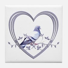 Pigeon in Heart Tile Coaster